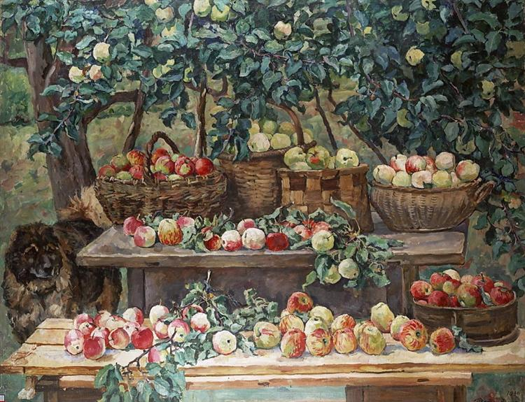 Apples and a Dog Keeper painting by Pyotr Konchalovsky (1939)