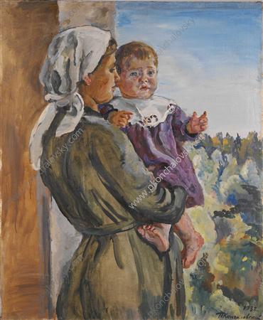 Katya on the lap (a nurse), 1932