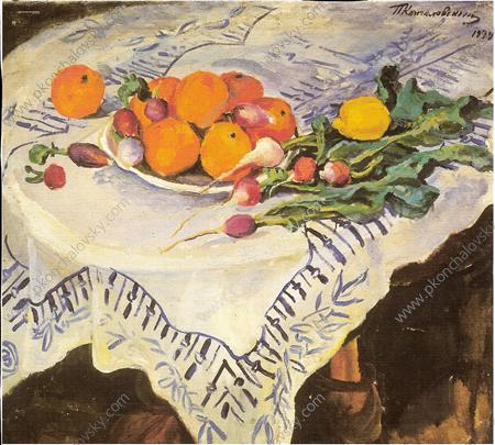 Still Life. Oranges and radishes. Kislovodsk., 1934