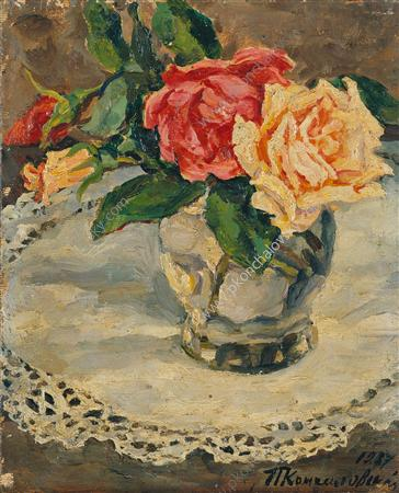 Still Life. Roses on a lace napkin., 1937