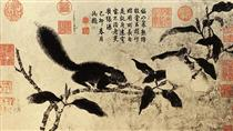 桃枝松鼠图 - Qian Xuan