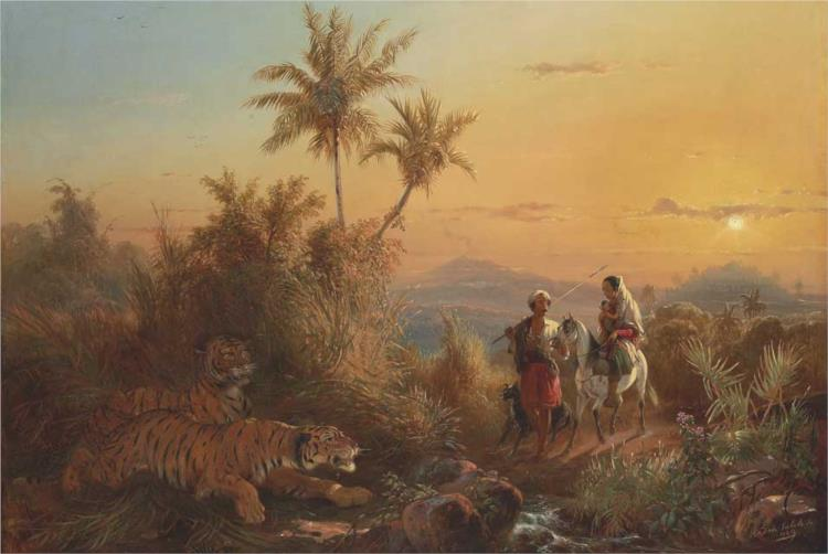 Javanese Landscape, with Tigers Listening to the Sound of a Travelling Group, 1849 - Raden Saleh