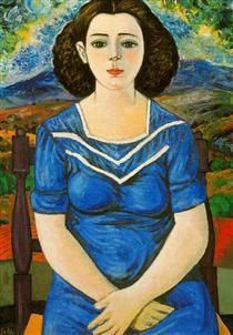 Portrait of seated brunette - Rafael Zabaleta