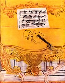 The Yellow Console with a Violin - Raoul Dufy