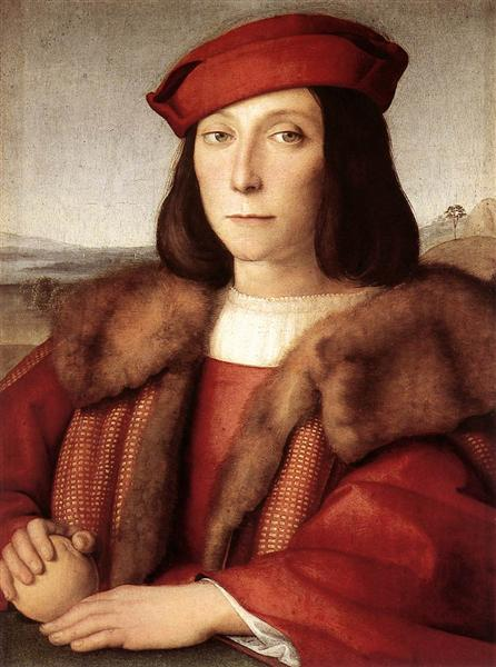 Portrait of a Man holding an Apple, 1500 - Рафаэль Санти