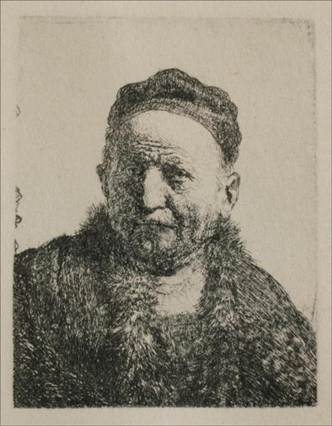 Head and Bust, Full Face, 1630 - Rembrandt