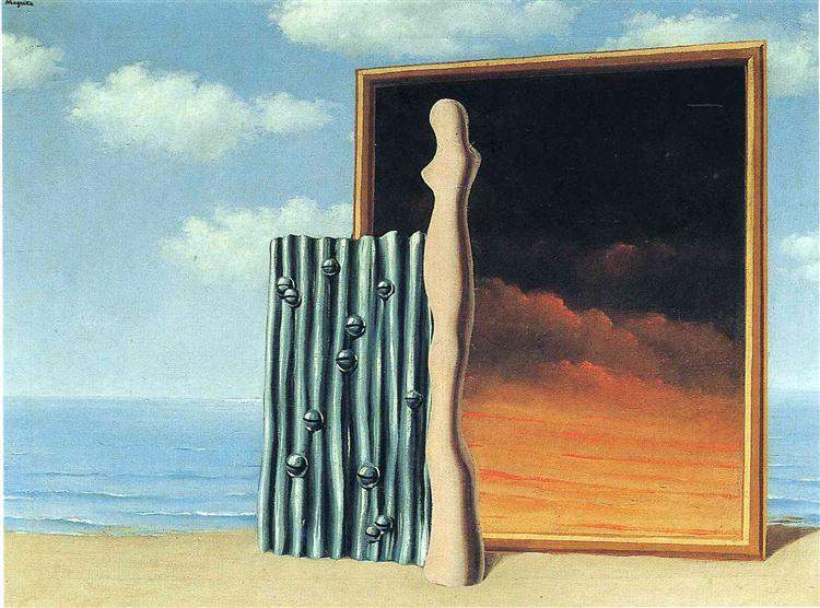 a surrealistic painting time transfixed by rene margritte Rene margritte, time transfixed, 1938 time transfixed by rene margritte is a surrealistic painting by watching the painting we see a very sharp and clear painting with dark colors close to the red the painting look so real that fools the eye and the observer has the impression that it is a computer graphic and not a real painting.