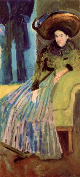 Seated Woman in green dress, 1908 - Richard Gerstl