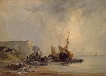 Boats by the Normandy Shore - Річард Паркс Бонінгтон