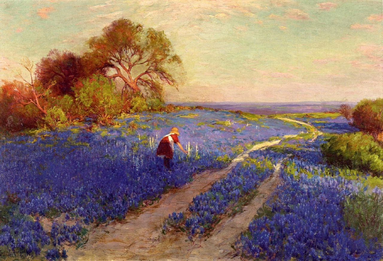 Late Afternoon North of .. by Onderdonk Giclee Canvas Print Repro Bluebonnets