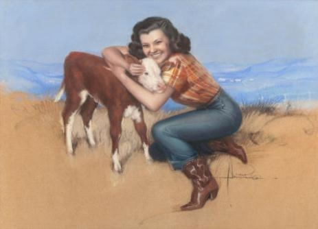 Take It Easy (Part of Armstrong's Cowgirl Series), 1941 - Rolf Amstrong