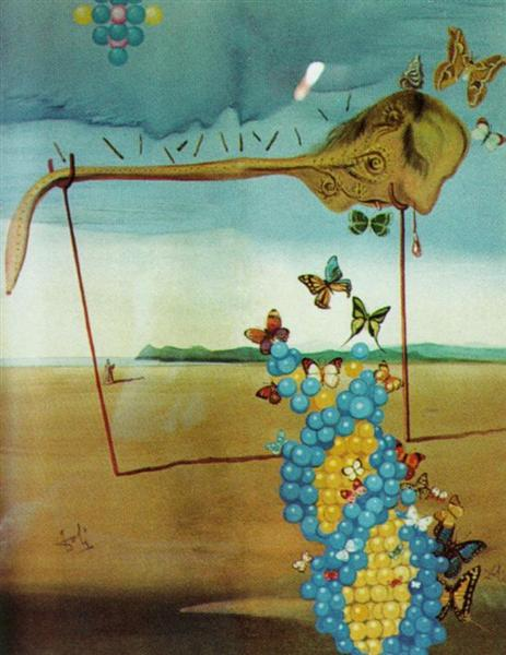 Butterfly Landscape (The Great Masturbator in a Surrealist Landscape with D.N.A.), 1957 - Salvador Dali