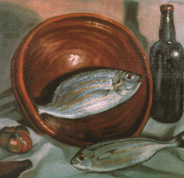 Still Life Fish with Red Bowl, 1923-1924