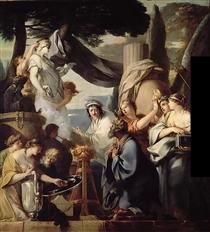 Solomon making a sacrifice to the idols - Sébastien Bourdon