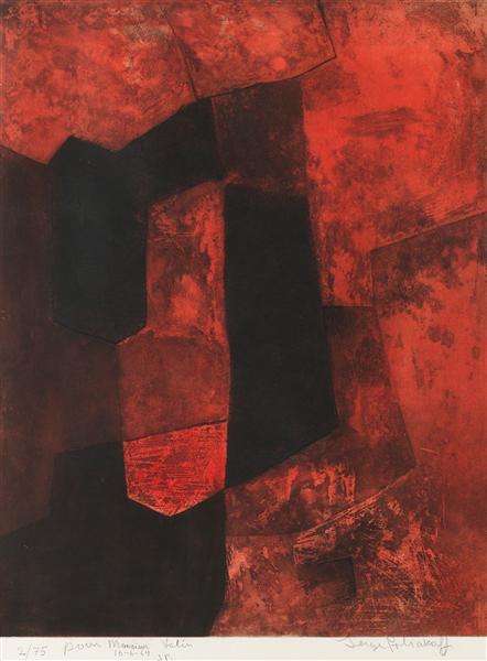 Composition brune et rouge, 1964 - Serge Poliakoff