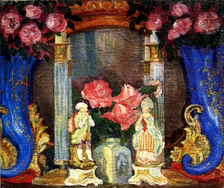 Натюрморт с фарфоровыми фигурками и розами, 1909 - Сергей Судейкин