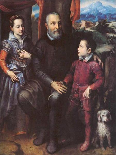 Family Portrait, Minerva, Amilcare and Asdrubale Anguissola, 1557 - Sofonisba Anguissola