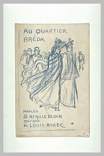 Au Quartier Breda  sketch, 1893 - Theophile Steinlen