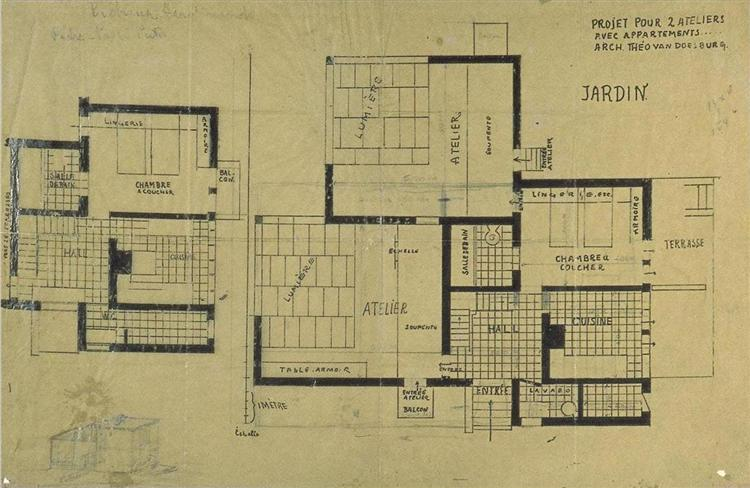 Apartment Design Drawings double studio apartment design, plans and axonometry, 1927 - theo