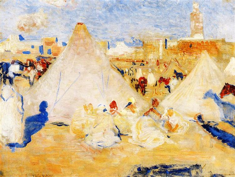 Encampment near a Moroccan Village, c.1888 - Theo van Rysselberghe