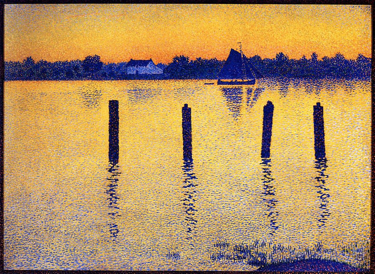 Sailboats on the River Scheldt – Theo van Rysselberghe (1892) [1280×937]