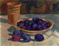 Still Life with Plums - Théo van Rysselberghe