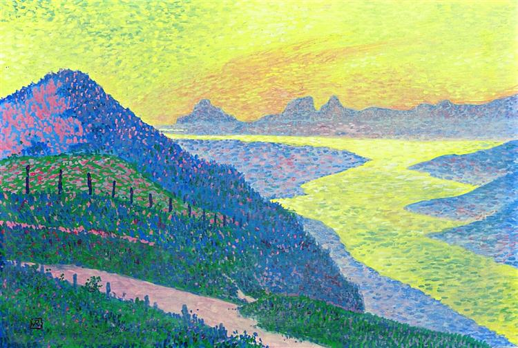Sunset at Ambleteuse, 1899 - Theo van Rysselberghe