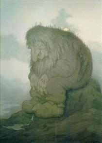 Troll wonders how old he is - Trollet som grunner på hvor gammelt det er, - Theodor Severin Kittelsen