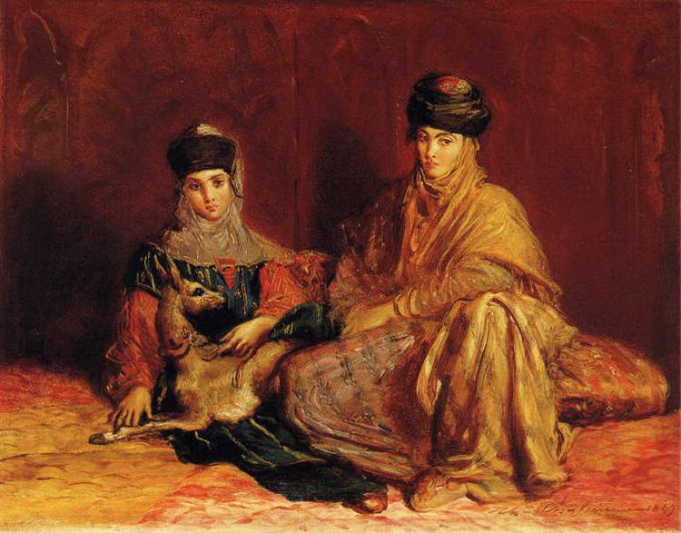 Woman and girl from Constantine with a gazelle, 1851 - Theodore Chasseriau