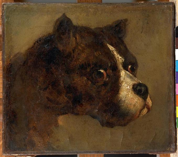 The head ofbulldog - Théodore Géricault