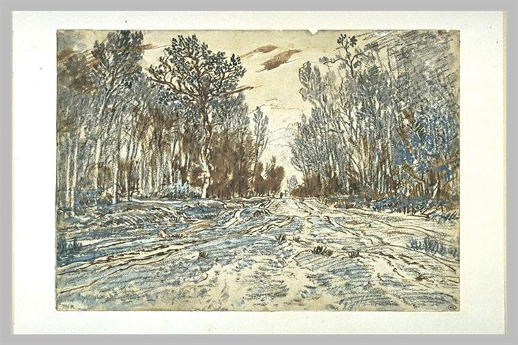Snowy paththroughawoodin the forest of Fontainebleau, 1863 - Theodore Rousseau