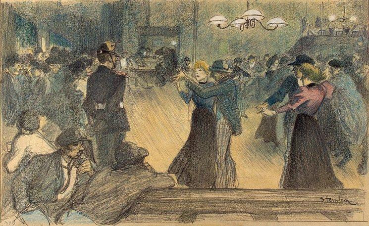 Ball in Paris suburb - Theophile Steinlen