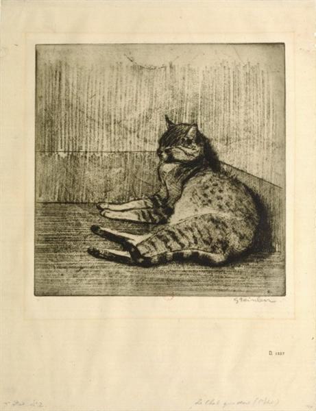 Cat Sleeping In A Corner, 1902 - Theophile Steinlen