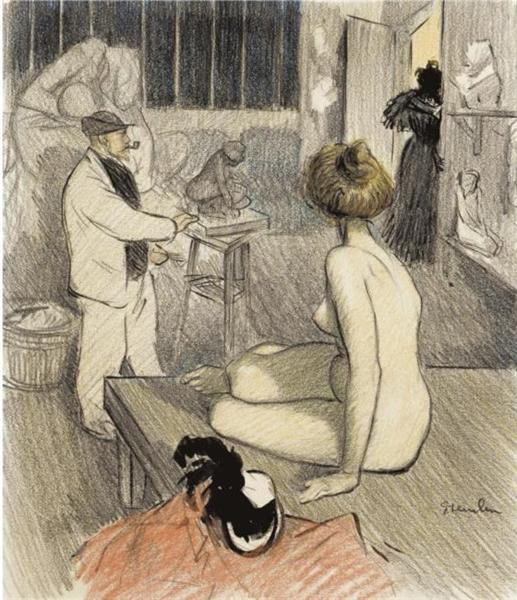 Coup Double - Original drawing - Theophile Steinlen