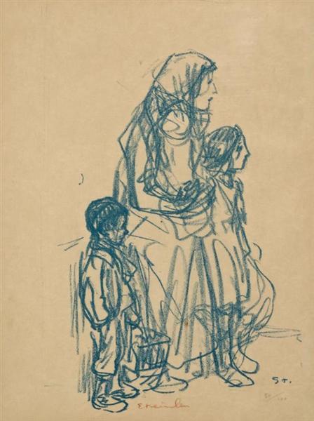 Femme de Profil et Trois Enfants, 1916 - Theophile Steinlen