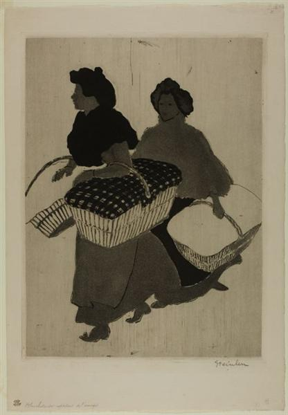 Laundresses are carrying linnen, 1898 - Théophile Alexandre Steinlen