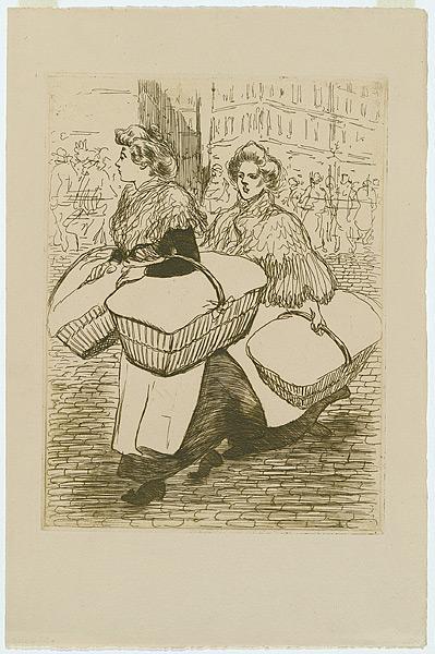 Laundresses are carrying linnen, 1898 - Théophile-Alexandre Steinlen