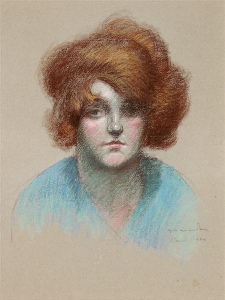 Portrait of woman in blue blouse, 1920 - Theophile Steinlen