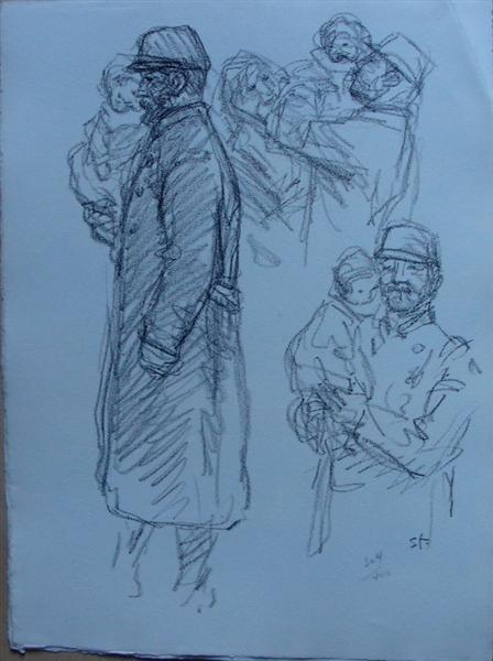 Soldat en kepi  portant un enfant, 1916 - Theophile Steinlen