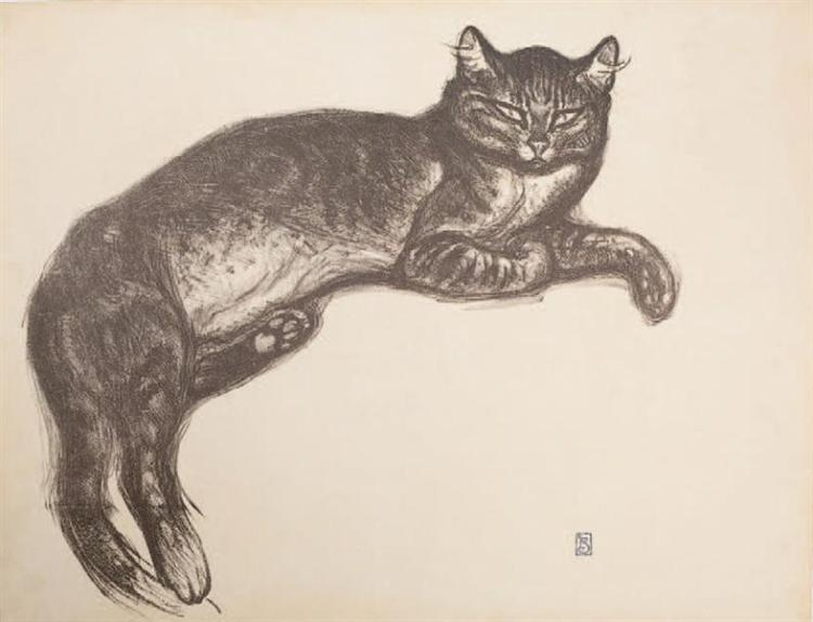 Study for L'Hiver - Cat On A Cushion - Theophile Steinlen