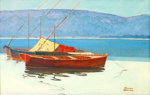 Boats in calm water - Theophrastos Triantafyllidis