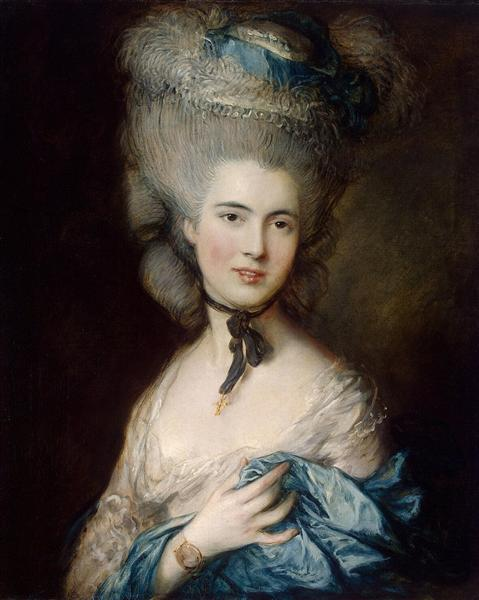 A Woman in Blue (Portrait of the Duchess of Beaufort) - Thomas Gainsborough