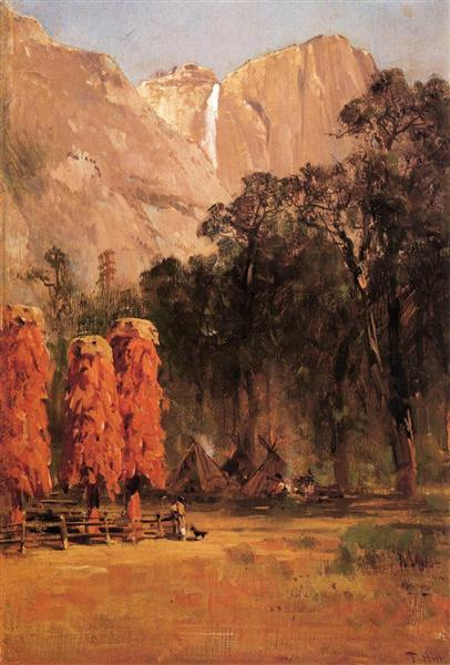 Acorn granaries, by Piute Indian camp in Yosemite, 1873 - Thomas Hill