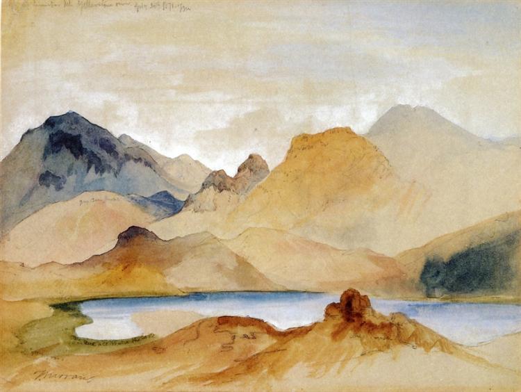 Cinnabar Mountain, Yellowstone River (watercolour) - Moran Thomas