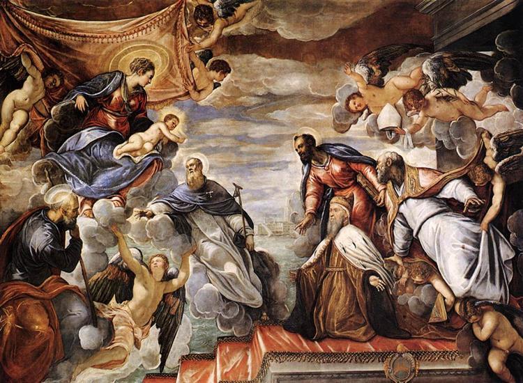 Doge Nicolò da Ponte Invoking the Protection of the Virgin, 1584 - Tintoretto
