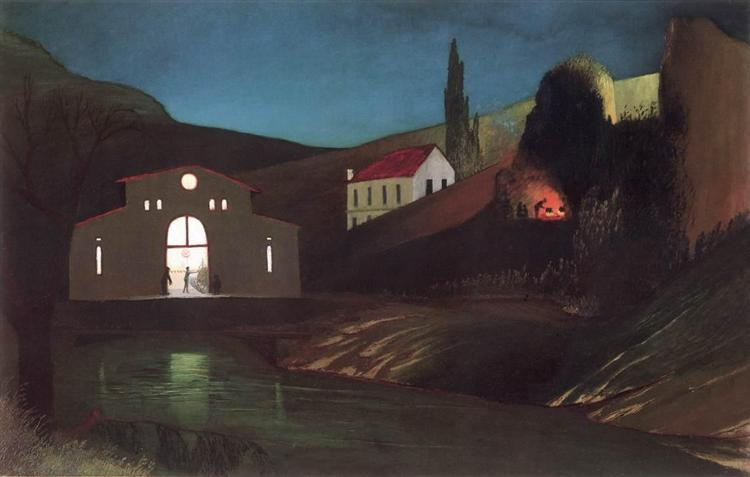 Electric Station at Jajce at Night - Tivadar Kosztka Csontvary