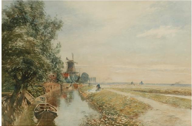 Canal scene with windmil, 1906 - Том Скотт