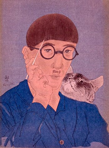 Self Porttrait with a cat - Tsuguharu Foujita