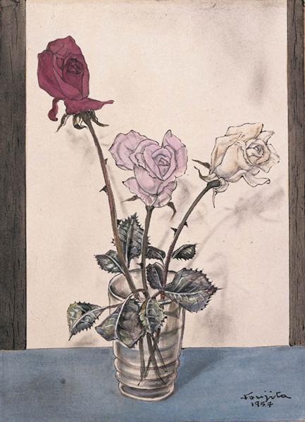 Trois roses dans un vase, 1957 - Tsugouharu Foujita