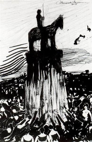 Agitate Crowd Surrounding a High Equestrian Monument, 1908 - Umberto Boccioni